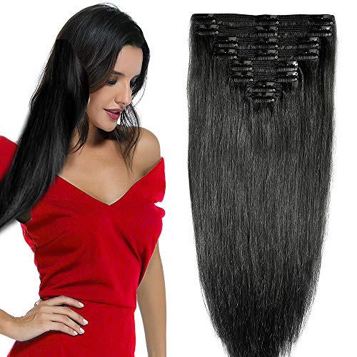 25cm-55cm 110g-160g Hair Extension Capelli Veri Clip Remy Human Hair 8 Fasce 18Clips Testa Piena Doppia Tessitura Rinforzata, 25cm-110g, 01# Jet Nero