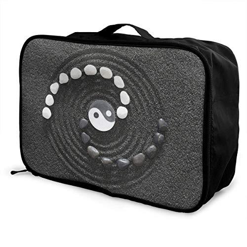 Qurbet Reisetaschen,Reisetasche, Lightweight Large Capacity Portable Duffel Bag for Men & Women White and Black Stone Yin Yang Sport Duffel Bag Backpack