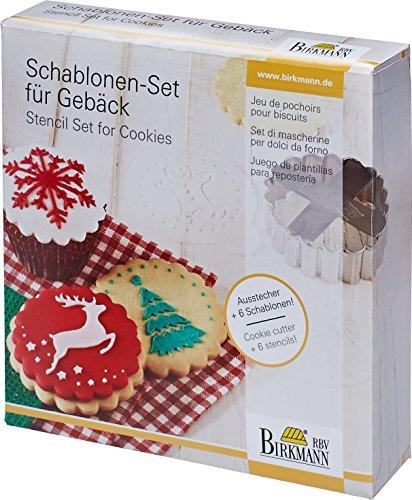 Schablonen-Set für Gebäck: Merry Christmas: 6 PET-Schablonen mit Haltegriff + AES Edelstahl