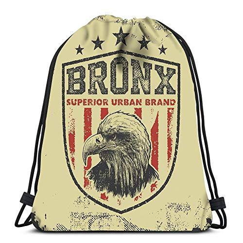 Randell Gym Drawstring Backpack Sport Bag Vintage Bronx New York Lightweight Shoulder Bags Travel College Rucksack for Women Men