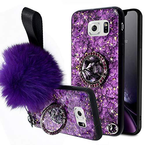 JAWSEU Bling Siliconen Hoesje Compatibel met Samsung Galaxy S6 met Ring Stand Bling Paars