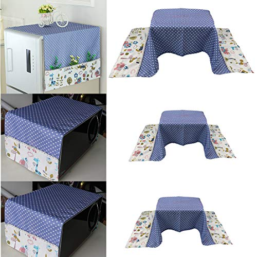 LSJDEER 3PCS Fridge and Microwave Oven Dust Cover, Cotton Linen Cloth Cover for Home Kitchen Appliance (Blue)