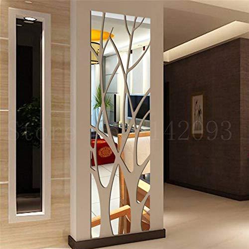 FOMBV Muursticker acryl spiegel muur stickers boom home decoratie zilver goud sticker meer woonkamer slaapkamer decoratie
