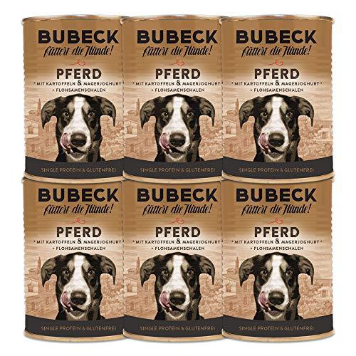 Bubeck | Nassfutter getreidefrei für Hunde 6er Bundle | Verschiedene Sorten (Pferd, 400g)