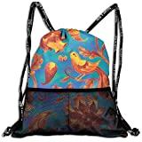 Drawstring Bundle Bags Gym Fitness Backpacks for Men Women Boys Girls Sports Hiking Cycling Camping, Watercolor Flower Bird Oriental Traditional Hand Painted Indian,16.5