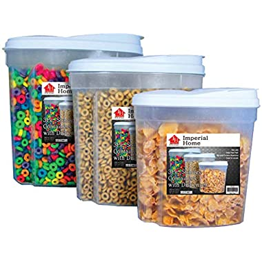 Imperial Home Plastic Cereal Dispensers 3 pc Set - Dry Food Storage - Airtight BPA free Plastic Containers - Durable Plastic Cereal Containers - (White) - 5.4 L, 3.1 L, 1.5 L Plastic Containers