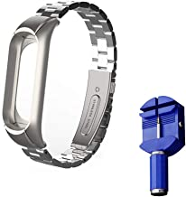 Xiaomi Mi Band 3 Replacement Strap, Miband 3 Replacement Band 16-22CM,Double Elastic Buckle Stainless Steel Metal Wrist Strap Wristband Watchband Bracelet Replacement for Mi Band 3(No Tracker)