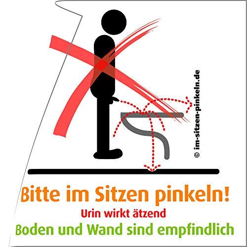 Cartel con mensaje «Bitte im Sitzen pinkeln Aufkleber», producto original (versión alemán), para un baño limpio (4 unidades), color Vermieter Aufkleber