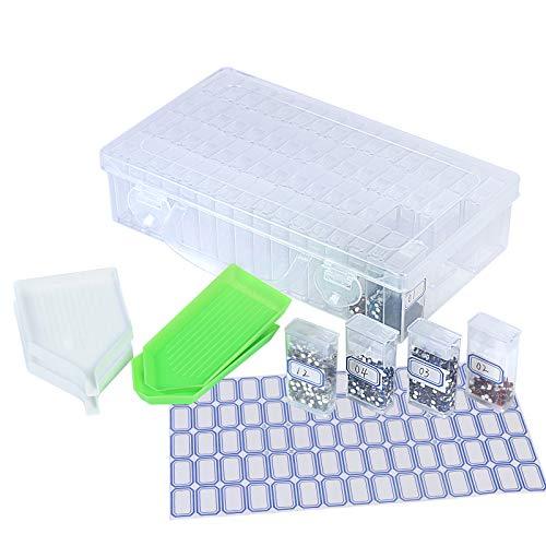 KATOOM 64 Fächer Diamant Stickerei Sortierbox 71tlg Diamond Painting Zubehör mit Aufbewahrungsbox Kleinteile Kunststoff Dosen Schmuck Organizer für Nägel Strass Perlen DIY Handwerk
