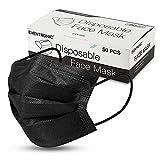Eventronic FY-50-BLACK-001 3-Lagen-Einweg-Mundschutz-Gesichtsmaske, Unisex, Schwarz, Rudel von 50