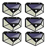 6 lámparas solares LED con detector de movimiento, 3 modos, luz de pared, 7 W, color negro, plástico, 100 ledes, lámpara solar, resistente al agua, ahorro de energía, protección del medio ambiente