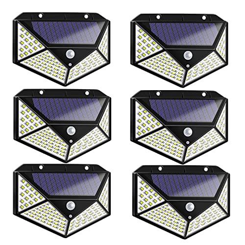 6 lampade solari a LED con sensore di movimento, regolazione a 3 modalità, 7 W, in plastica, 100 LED, impermeabili, a risparmio energetico, protezione ambientale