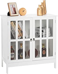 VINGLI Buffet Cabinet Kitchen Buffets & Sideboards Dining Buffet Cabinet with Storage Small Accent Cabinet with Transparent Doors for Kichen, Dining Room, Living Room, White