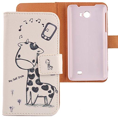 Lankashi PU Flip Leder Tasche Hülle Hülle Cover Schutz Handy Etui Skin Für Kazam Trooper 2 5.0 Giraffe Design
