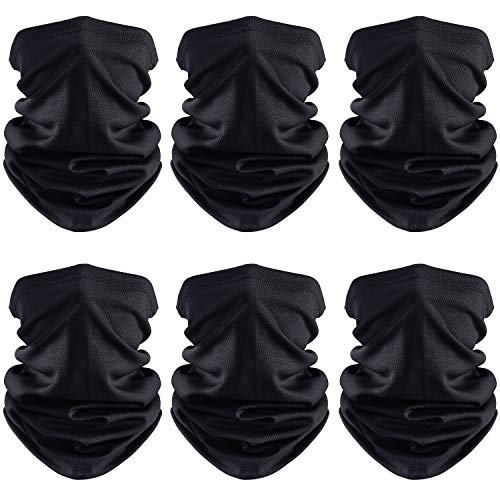 Face Cover Scarf UV Protection Neck Gaiter Scarf Sunscreen Breathable Bandana (Black, 6)