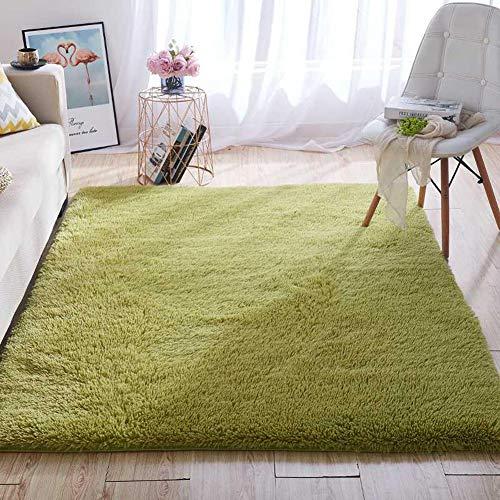 Wondo Soft Shaggy Area Rugs Modern Fluffy Bedroom Rug for Kids Nursery Girls Boys Super Comfy Shag Fur Carpets Living Room Furry Home Decor Rugs, 4x5.3 Feet Green
