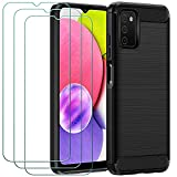 ivoler Funda para Samsung Galaxy A03S con 3 Unidades Cristal Templado, Fibra de Carbono Carcasa Protectora Antigolpes, Suave TPU Silicona Caso Anti-Choques Case Cover - Negro
