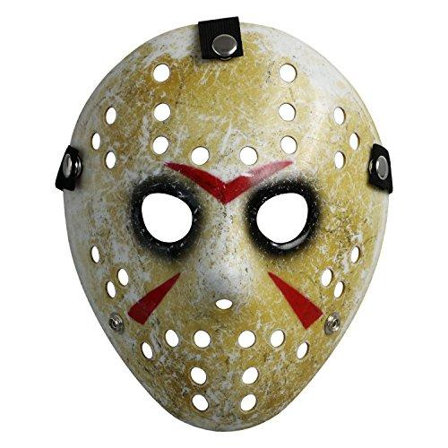 Landisun Maske, Horror-Hockey-Maske, für Halloween Gr. Adult, Schwarze Augen für Erwachsene
