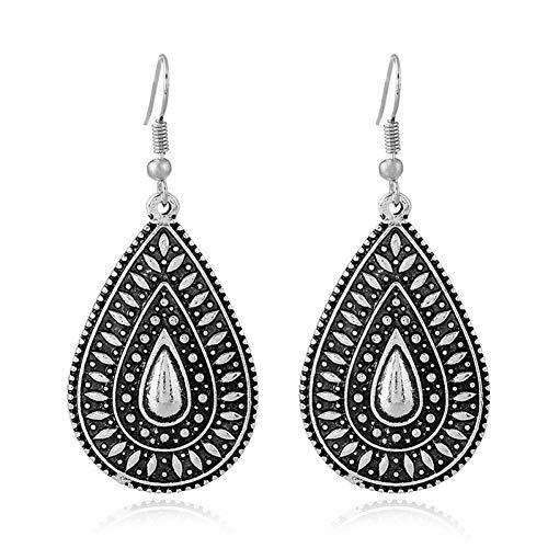 BLINGBRY Modieuze boho druppels lange oorbellen voor vrouwen sieraden vintage zilver gesneden Ethno-oorbellen prestaties bohème druppels