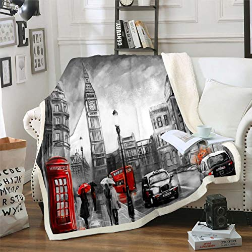 Erosebridal Big Ben Bed Blanket Telephone Box Sherpa Blanket Black Red Car Throw Blanket London UK Cityscape Flannel Blanket, Grey Room Dorm Home Decor Nursery Bed Blankets Throw