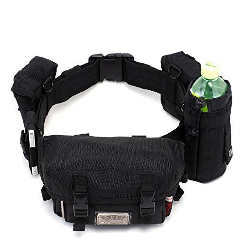 Outdoor peak Herren Oxford wasserabweisend Gürteltasche Tagetasche Messenger Bag Wasserflaschentasche Multifunktions-Tasche Radfahrrad Trekkingrucksack Wandern(Schwarz)