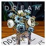WXL Flor falsa de té rosa de seda flor de otoño gerbera, margarita artificial de plástico para boda, hogar, accesorios de decoración de habitación (color: azul)