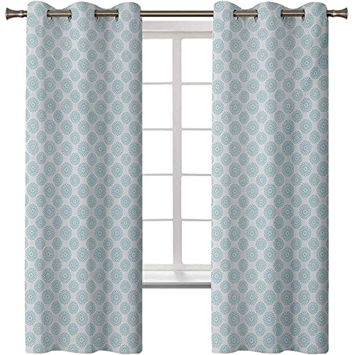Pale Blue Bedroom Blackout Curtains, Elliptical Shapes with Star Like Symbols Inside Wavy Bold Chain Pattern, 2 Panels W27.5 x L63 Curtain Panels for Kid Room, Pale Blue White