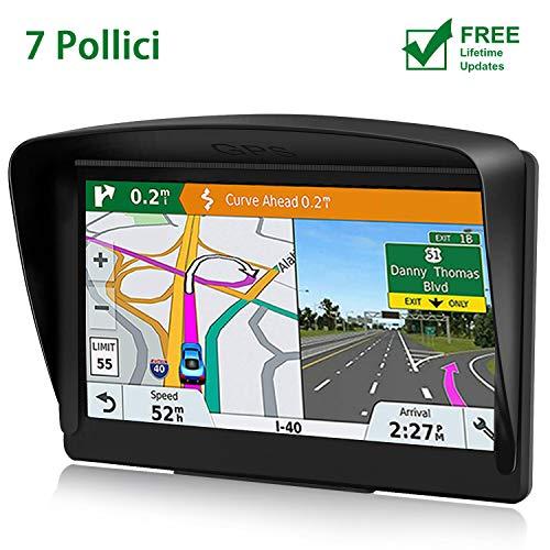 POMILE Navigatore Satellitare Auto per Camion, 7 pollici GPS per Auto Camion Aggiornamento gratuito Mappa 8 GB ROM + 256 MB RAM Schermo capacitivo GPS ad alta luminosità per 52 paesi mappa