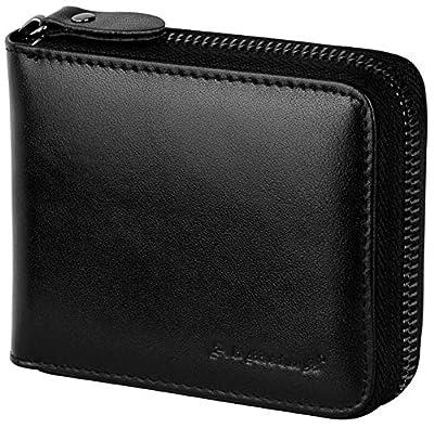 Wallet for Men Bifold Leather Zipper Wallet RFID Blocking Card Holder Black2019