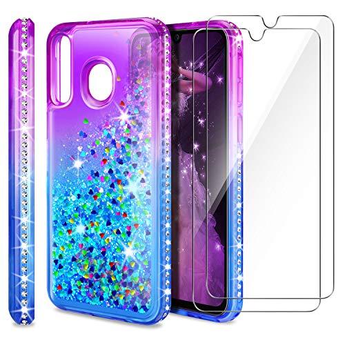AROYI Cover Huawei P30 Lite + Pellicola Protettiva in Vetro Temperato[2 Pack], Brillantini Diamond Sabbie Mobili TPU Silicone Custodia per Huawei P30 Lite (Porpora Blu Gradient)