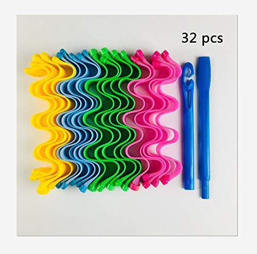 Hair Curlers Magic Styling Kit - Spiral Curls No Heat, Magic Hair Rollers, DIY Hair Curler with Styling Hook, 32PCS (55,Wavy)