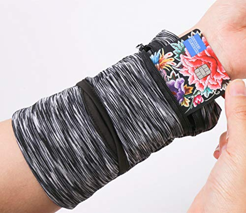 bbfly Wrist Pouch, Pocket Wallet with Zippered for Running, Walking, Hiking, Cross-Fit and More (Black)