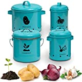 Vintage Storage Bins – Storage Containers for Onion, Garlic, Potatoes and Compost Bin–Vegetables Bins for Kitchen – Metal Storage Tins with Aerating Holes and Lid – Set of 4 Vintage Canisters (Teal)