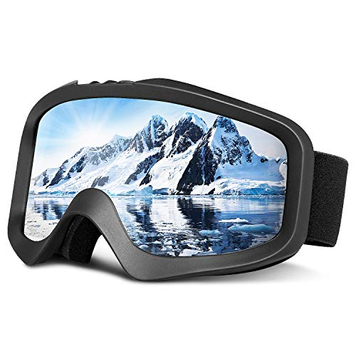 Bluefire Skibrille, Snowboard Brille Doppel, Verspiegelt Doppel Objektiv OTG UV-Schutz Anti-Fog Winddicht Helmkompatible Augenschutz für Herren und Frauen(Schwarz)