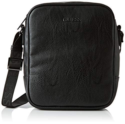 Guess Herren City Top Zip Crossbody Business Tasche, Schwarz (Black), 6.5x23x20 centimeters