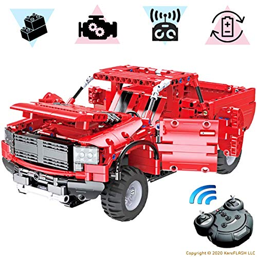 KareFLASH Red Pickup | 549 Building Blocks Compatible with Lego | RC Electric Engine and Charger | STEAM Toy