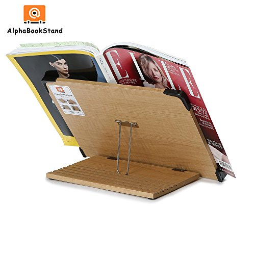 Alpha Book Stand AB1102 Ergonomic Book Holder Collapsible Foldable Bookstand Adjustable Portable Kitchen Vintage Book Stand Table Top for Textbook Reading Desk