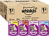 Whiskas Wet food pouches, delicious and tasty mixed selection in jelly, suitable for cats aged 1+, 84 x 100 g