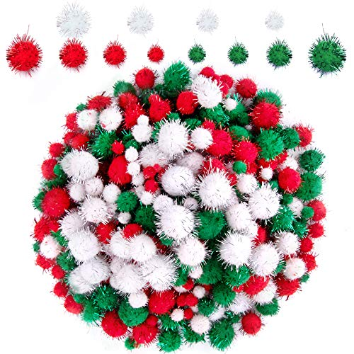 BQTQ 1200 Pieces Christmas Pom Poms Tinsel Pom Pom Balls Glitter Fluffy Pompoms for Craft Making and Christmas Decorations (4 Sizes, White, Green, Red)