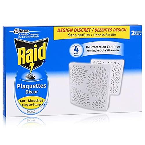 Raid Plaquettes Décor Anti-Mouches, 4 Mois de Protection, Sans Parfum, Blanc