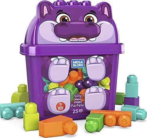 Mega Bloks First Builders boîte opaque en forme d'hippopotame, jeu de gros blocs de construction, 25 pièces, jouet pour bébé et enfant de 1 à 5 ans, GRV21