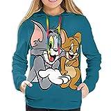Youyouyu Tom Jerry Sudaderas con capucha para mujer, con estampado de manga larga, con cordón, con bolsillo Negro Negro ( XXL