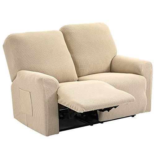 TIANSHU Funda reclinable para sofá de Dos plazas, 6 Piezas para 2 Asientos, Funda reclinable de Jacquard para sofá de 2 Cojines, Funda elástica para sofá(Sillón Relax 2 Plaza, Marfil)