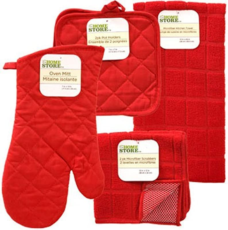 The Home Store Red Windowpane Pattern Kitchen Linens Collection Set Includes 1 Pot Holder 2 Pot Holders 1 Kitchen Towel 2 Microfiber Scrubbers 6 Items Total