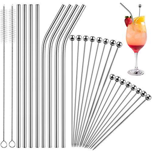 Set di 26 Stuzzicadenti da Cocktail e Cannucce 16 Bastoncini di Aperitivi in Acciaio Inox Plettri Cocktail da 8 Pollici 4,3 Pollici 8 Cannucce da 8,5 Pollici e 2 Pennelli (Argento)