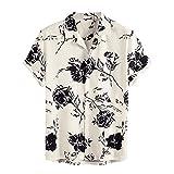 BIBOKAOKE Camicia da uomo a maniche corte Funky Hawaii, con stampa floreale alla moda, camicia estiva basic slim fit casual Henley, traspirante, per il tempo libero, da spiaggia, da uomo, Beige19, L