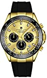 Henry Jay Mens Chronograph Dive Watch with tachymeter Date and Rubber Strap