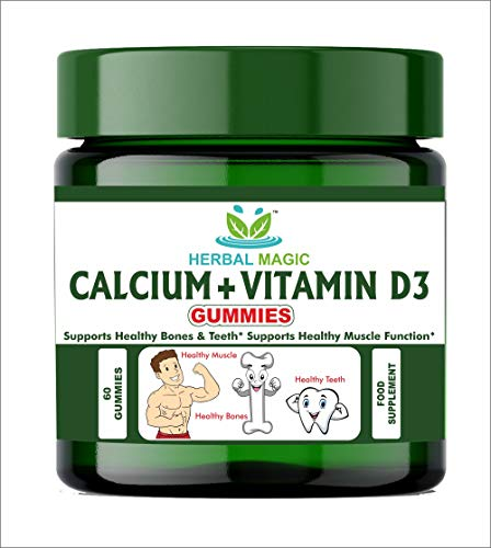 Herbal Magic's Calcium + Vitamin D3 Gummies - Rich in Vitamin D3 and Calcium - Supports Healthy Bones, Teeth and Muscle - 30 Servings