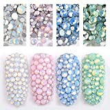 REAMTOP 4 Bags of Different Nail Art Rhinestones Sets, 1400 Pcs Flat Back Crystal Rhinestone Gemstone 3D Nail Art Mobile Phone DIY Crafts