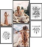 Papierschmiede® Mood-Poster Set Hippie | 6 Bilder als